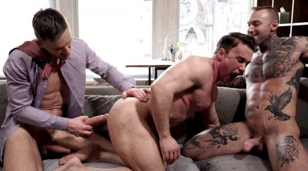 LR - Andrey Vic And Dylan James Use A Dildo On Alexander Volkov