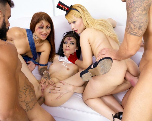 Natasha Teen, Emily Pink, Laura Monroy - Halloween Orgy with Natasha Teen, Emily Pink Laura Monroy big gapes, intense anal DP SZ2312 [HD 720p] (LegalP0rno)