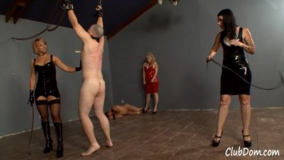 4 Mistresses Whipping a Hanging Man