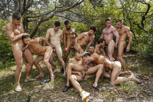 LE - 11-Man Fire Island Bareback Orgy Part 01